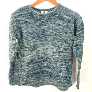 Girls Heather Blue, White and Teal Sweater